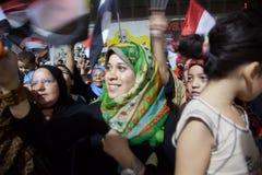 Egyptiska revolutionflickor Fotografering för Bildbyråer