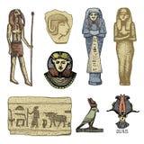 Egyptiska symboler, pharaon, scorob, hieroglyfer och osiris head, gudtappning, den inristade handen som in dras skissar, eller tr stock illustrationer