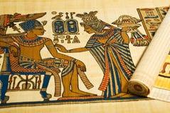 Egyptiska teckningar på scroll Royaltyfri Fotografi