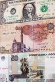 Egyptiskt pund mellan US dollar och ryska rubel Royaltyfri Bild