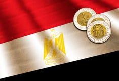 Egyptiskt pund på flaggan Arkivbild