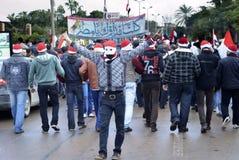 Egyptiskt tecken för protestorexponeringsseger Royaltyfria Bilder