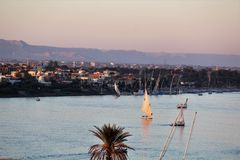 Sunset at Nile river royalty free stock images
