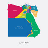 Egypy map with regions flat design illustration vector Stock Photography