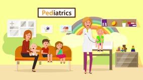 Egzamin pediatra również zwrócić corel ilustracji wektora ilustracja wektor