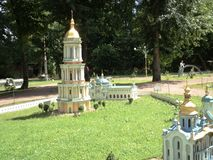 egzamin próbny dzwonkowy wierza przy wystawą wskazówki w miniaturze zdjęcia stock