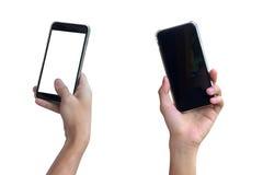 Egzamin próbny ręki chwyta up mądrze telefonu pusty ekran biały tła iso Obrazy Royalty Free