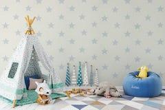 Egzamin próbny up izoluje w dziecko pokoju wnętrzu Wewnętrzny scandinavian styl 3D rendering, 3D ilustracja ilustracja wektor