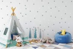 Egzamin próbny up izoluje w dziecko pokoju wnętrzu Wewnętrzny scandinavian styl 3D rendering, 3D ilustracja royalty ilustracja