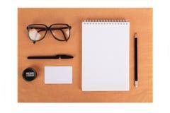Egzamin próbny up na Kraft papierze Szablony puści z materiały Fotografia Royalty Free