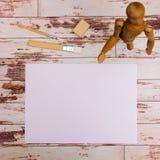 Egzamin próbny Up Projektantów narzędzia na praca stołu drewnianego tła odgórnym widoku Obrazy Royalty Free