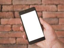 Egzamin próbny w górę handheld mądrze telefonu zdjęcia royalty free