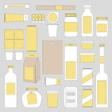 Egzamin próbny w górę karmowych pakunków Banki, cyna, pakować, butelki i inni mockups, royalty ilustracja