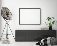Egzamin próbny w górę plakat ram w dziecko sypialni, scandinavian stylowy wewnętrzny tło, 3D odpłaca się Fotografia Stock