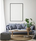 egzamin próbny w górę plakat ramy w modnisia wewnętrznym tle, żywy pokój, skandynawa styl, 3D odpłaca się, 3D ilustracja ilustracji