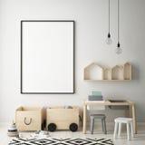 Egzamin próbny w górę plakat ramy w dziecko sypialni, scandinavian stylowy wewnętrzny tło, 3D odpłaca się Fotografia Royalty Free