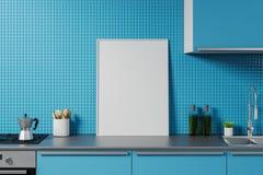 Egzamin próbny w górę plakata na błękitnym kuchennym countertop royalty ilustracja