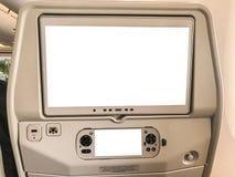 Egzamin próbny w górę rozrywka ekranu na miejscu pasażera na lotniczym samolocie zdjęcie stock
