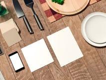 Egzamin próbny w górę szablonu z kulinarnym naczyniem ilustracja wektor