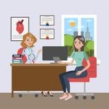Egzamin przy lekarką ilustracja wektor