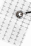 Egzamininuje serce zapobiegać kierową chorobę Stetoskop i kardiogram na białego tła odgórnym widoku Obraz Stock