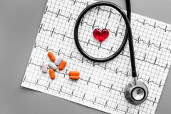 Egzamininuje serce zapobiegać kierową chorobę Serce znak, kardiogram, pigułki, stetoskop na popielatego tła odgórnym widoku Fotografia Royalty Free