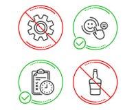 Egzaminu czas, ikony ustawia?, us?ugi i zadowolenie klienta Szkocki butelka znak wektor ilustracja wektor