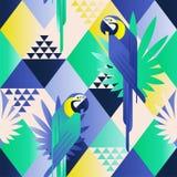 Egzota plażowy modny bezszwowy wzór, patchwork ilustrował kwiecistych tropikalnych liście Dżungli błękita papugi Tapetowi druków  ilustracja wektor