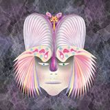 Egzotic warrior  helmet colored feathers Stock Photography