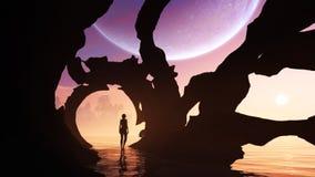 Egzotyczna jama W Odległej planecie ilustracji