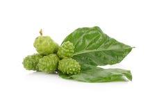 Egzotyczna owoc - Noni na białym tle Fotografia Stock