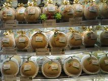 Egzotyczna prezentacja rozmaitość melony w sklepie spożywczym w zakupy kompleksie w Kowloon obrazy royalty free