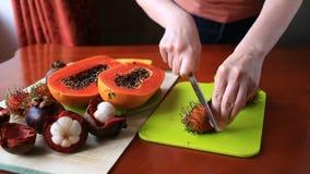 Egzotyczna tropikalna owoc na stole owocowy tajlandzki Zakończenie zbiory