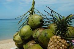 Egzotyczne owoc na tle morze Zdjęcia Stock