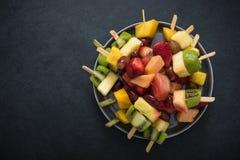 Egzotyczne owoc przyjęcia przekąski, karmowy tło Obrazy Stock