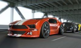 Egzotycznego samochodu wyścigowego prędkości wysoka ostateczna rozgrywka nad miasto mostem Rodzajowi pojazdy Fotografia Stock