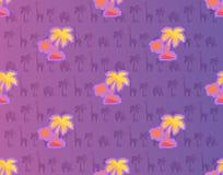 Egzotyczni drzewka palmowe z Afrykańskimi roślina i zwierzę Obraz Royalty Free