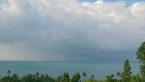 Egzotyczni kokosowi drzewka palmowe rusza się w wiatrze ilustracja krajobrazu denny tropikalny wektora Idylliczna raj wyspy plaża zbiory