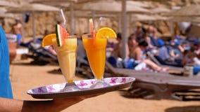 Egzotyczni koktajle w szkle z s?om? na tacy na tle morze Egipt zbiory wideo