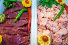 Egzotyczni rodzaje mięso zdjęcia stock
