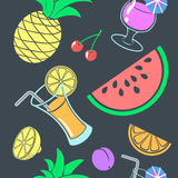 Egzotyczny bezszwowy wzór napoje i owoc Zdjęcie Royalty Free