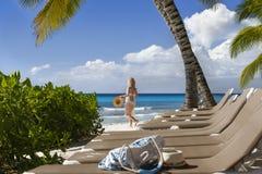 Egzotyczny Karaiby krajobraz - plaża na Tropikalnej wyspie Saona fotografia royalty free