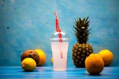 Egzotyczny tropikalny napój z ananasami obrazy stock