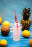 Egzotyczny tropikalny napój z ananasami obraz royalty free