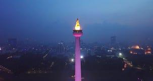 Egzotyczny widok z lotu ptaka Dżakarta Krajowy zabytek zdjęcie wideo