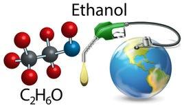 Ehanol和化学式 库存例证