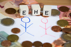 Ehe - the german word for marriage Royalty Free Stock Photo