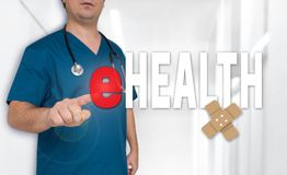 EHealth concept and doctor with surgical gown royalty free stock photography