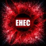 EHEC epidemic. EHEC E-coli epidemic red illustration stock illustration