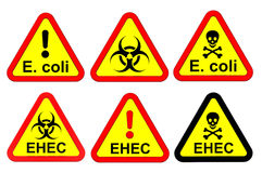 EHEC - warning signs. Stock Photos